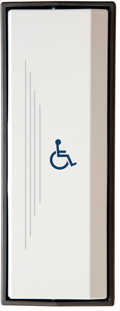 Armbågskontakt JCK103 med taktila ränder och symbol rullstol