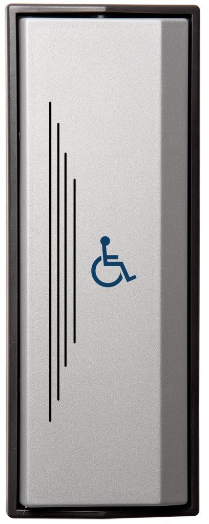 Armbågskontakt JCK105 med taktila ränder och symbol rullstol
