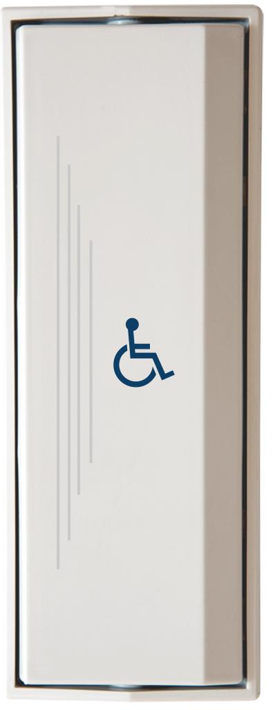 Armbågskontakt JCK109 med taktila ränder och symbol rullstol