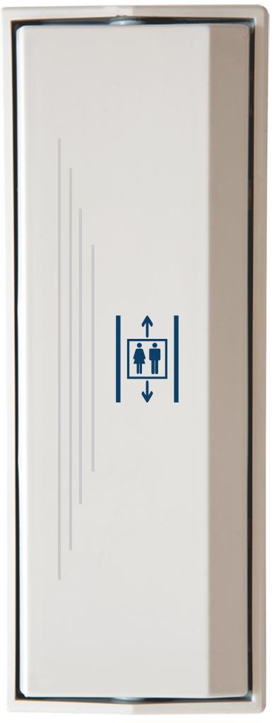 Armbågskontakt JCK109 med taktila ränder och symbol hiss